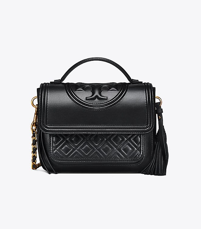 289b3c68f3e2 Tory Burch Fleming Satchel - Black - Club Laurus